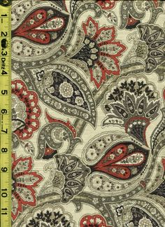 img9237 from LotsOFabric.com! This is a great paisley with floral accents. Greys and browns highlight the vivid red in this pattern. Order swatches online or shop the Fabric Shack Home Decor collection in Waynesville, Ohio. #drapery #upholstery #bedding #throw #pillow #interior #design #home #decor