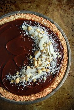 Coconut Caramel Macadamia Nut Chocolate Pie -Vegan and Gluten Free