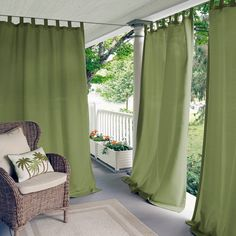 Matine Tab Top Indoor/Outdoor Window Curtain for Patio, Porch, Cabana - 52 x 84 - Mineral Blue - Elrene Home Fashions Indoor Outdoor, Outdoor Spaces, Outdoor Living, Outdoor Plants, Patio Curtains, Front Porch Curtains, Beach Curtains, Sunroom Windows, Colorful Curtains