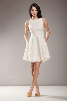 Stylowa sukienka AUDREY - krem - nife_pl - Sukienki
