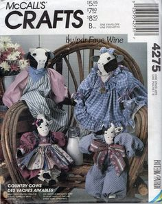 McCalls 4275 1980s Cow and Bull Vintage Sewing Pattern 2 Sizes Uncut | PatternGate