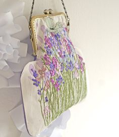 Silk ribbon Embroidery Purse Bag Lavender Sachets Flower GardenHand embroidered accessory ribbon purse flowers vintage floral needlework bag by OlgaHengst