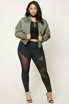 Forever 21+ - A pair of knit leggings featuring mesh paneled inserts and style lines.