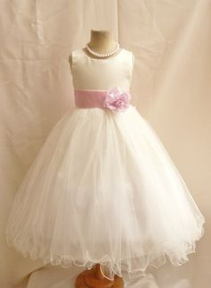 Flower Girl Dresses  IVORY with Pink Light door NollaCollection