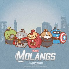 The Molang Avengers! Look at the cute Molang mini Hulk >v<