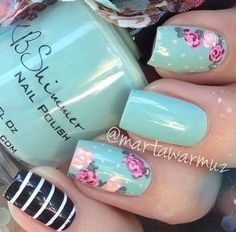 Images and videos of unhas Creative Nail Designs, Creative Nails, Tiffany Nails, Smart Nails, Toe Nail Color, Flower Nail Designs, Cute Nail Art, Happy Mother S Day, Hot Nails