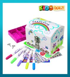 CRAYOLA JEWELLERY BOX A great gift idea for girls aged 4 - 10!  Use stylish stickers and sparkle pens to decorate and add finishing touches to your very own and unique Jewellery Box. There's even a padlock included to keep your Jewellery safe and locked away!   Contains Jewellery Box with lift out tray, Padlock and 2 keys, holographic and vinyl stickers, 4 Mini Sparkle Gel Pens.  Kids Dealz Discount Toys 100 days free returns and shipping Austraila wide