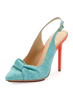 Ava Canvas Slingback Pump, Turquoise by Charlotte Olympia at Neiman Marcus.