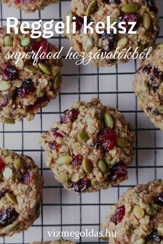 Superfood Breakfast Cookies - Wife Mama Foodie These cookies are jam-packed with nutritious ingredients and healthy enough for breakfast on the go! They're free of gluten, dairy, & refined sugar, and also vegan friendly! Healthy Sweets, Healthy Baking, Healthy Breakfast Cookies, Oatmeal Breakfast Cookies, Healthy Muffin Recipes, Healthy Oatmeal Cookies, Vegan Breakfast Muffins, Sugar Free Breakfast, Vegan Gluten Free Breakfast