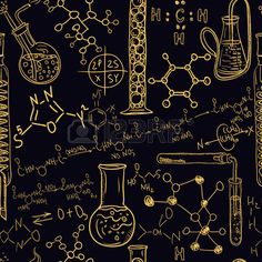 Old chemistry laboratory seamless pattern Vintage vector