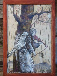 картина на бересте Ангел со скрипкой