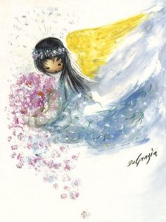 DeGrazia® - Angel with Flowers Crystal Tile. The creation of these beautiful tiles have been inspired by the art of DeGrazia®. There are two sizes of tiles available – 6″ x 8″ and 8″ x 10″.  $27.95