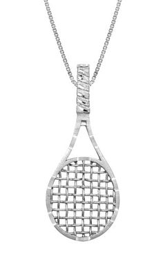This simple silver tennis racket necklace is both elegant and playful. Perfect for any collection. Comes with a adjustable box chain. Tennis Bags, Tennis Gifts, Silver Chain Necklace, Pendant Necklace, Silver Earrings, Tennis Doubles, Tennis Pictures, Tennis Workout, Tennis Necklace