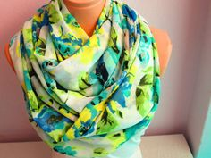 Blue Flowery Infinity Scarf,Shawl Circle Scarf,Loop scarf,Gift Idea,Women Scarf,Scarf,Scarves