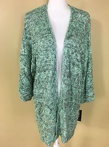 Style & Co New XL Mint Green Open Front Knit Sweater Coat 1/2 Sleeve Casual  | eBay