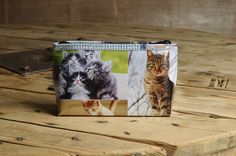 Upcycled Makeup bag Large - Cats from Ecommmax. Find it now at http://ift.tt/2bs27H9! #upcycled #recyceld #makeup #cats #cat bag