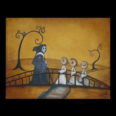Original Acrylic Canvas Art Creeper Painting  by RusticGoth, $125.00