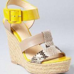 calvin klein, neon, ellison espadrill, klein wedg, espadrilles, wedges, yellow, light, shoe