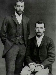 King George V of UK (1910) and his physically similar cousin Tsar Nicholas II of Russia (right) - 1894