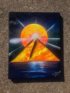 Orange Pyramid Spray Paint Art on Canvas by AngiesCosmicStudio