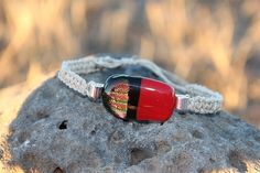 Hey, I found this really awesome Etsy listing at https://www.etsy.com/listing/169939815/red-and-black-dichroic-glass-hemp