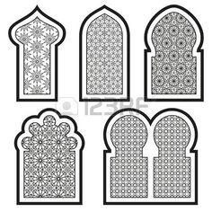 Islamic windows and doors with arabian art ornament pattern vector set. window and door in islamic pattern style. Islamic Art Pattern, Arabic Pattern, Moroccan Design, Moroccan Decor, Motifs Islamiques, Jaali Design, Decoration Evenementielle, Foto Gif, Arabian Art