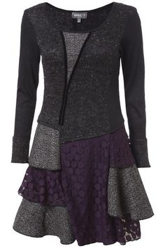 Charcoal & Purple Edwardian Patchwork Tunic Dress in DRESSES from Apricot