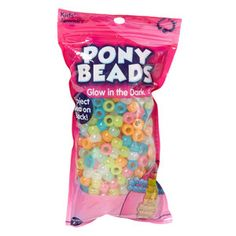 Kids Craft Plastic Pony Beads, Glow In Dark