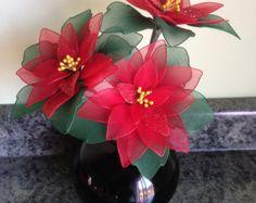 Flores Poinsettia madre, flores de nylon, las decoraciones de Navidad