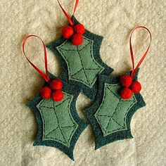 Holly and berries felted wool ornaments. Worth a try.