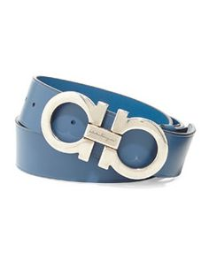 N2HQW Salvatore Ferragamo Double Gancini Leather Belt, Light Blue