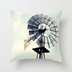 rustic home decor  blue decor windmill throw pillow photography pillow cover country decor decorative throw pillow by eireanneilis