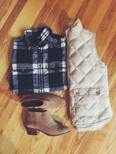 flannel shirt + puffer vest + suede ankle boots #jcrew