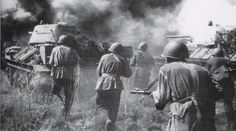 Soviet troops during the Battle of Kursk, the largest tank battle ever in history.