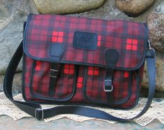 1960 school book bag | vintage 1960s plaid book bag school bag unisex carry on by pleasant ...
