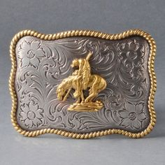Square End of the Trail belt buckle