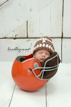 Baby Football Hat Boy Newborn Crochet Sports Beanie Boy Girl Team Colors Available browns steelers michigan cowboys