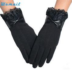 Verbazingwekkende Effen Kleur Mode Kant Winter Warm Touchscreen Handschoenen voor Vrouwen Nieuwe Collectie