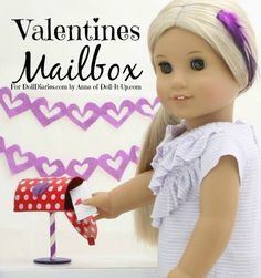 Mini Valentine exchange for dolls with this fun mailbox made out of a paper tube.