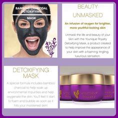 Younique new detoxifying bamboo charcoal face mask! New royalty skincare line! September 2016 Youniqueproducts.com/brookebachtel