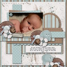 Baby boy scrapbook paper circles Ideas for 2019 Baby Boy Scrapbook, Scrapbook Bebe, Baby Scrapbook Pages, Scrapbook Templates, Scrapbook Sketches, Scrapbook Page Layouts, Scrapbook Paper Crafts, Scrapbook Cards, Photo Layouts