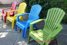 paint your plastic chairs, outdoor furniture, outdoor living, painted furniture Backyard Chairs, Pool Chairs, Garden Chairs, Outdoor Chairs, Outdoor Furniture, Patio, Outdoor Plastic Chairs, Diy Furniture, Painting Plastic Furniture