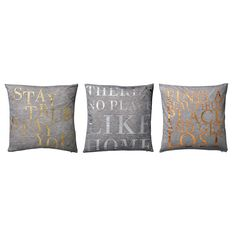 Gray cotton cushion with text in three different colors: gold, silver and copper. Decorate your living room or bedroom with these comfortable, decorative and very cool cushions. Bed Pillows, Cushions, Palette, Vintage Caravans, Bella Rose, Brown Shades, Small Furniture, Grey And Gold, Silver Color