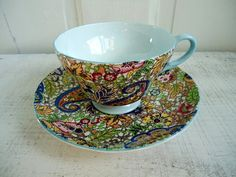 Mod Paisley Teacup and Saucer by Shelley