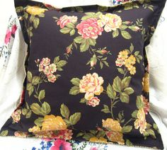 """Ralph Lauren Fabric """"CHARLESTON ROSE"""" Hand Made 18x18 Accent Pillow - Removable Cover"""