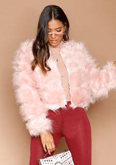 84e9e969704 Missyempire - Aniyah Pink Cropped Shaggy Faux Fur Coat Shaggy, Fur Coat,  Long Sleeve