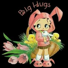 Betty Boop with bunny and chicks Baby Esther, Betty Boop Cartoon, Betty Boop Pictures, Morning Greetings Quotes, Special Quotes, Big Hugs, Funny Cards, Disney Cartoons, Great Friends