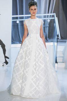 98f8b15542a peter langner spring 2018 bridal cap sleeves jewel neck geomatric pattern  romantic ball gown wedding dress sheer back chapel train mv -- Peter Langner  ...