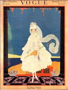 Vogue Cover - January 1916 Poster Print by Helen Dryden at the Condé Nast Collection Vogue Magazine Covers, Fashion Magazine Cover, Magazine Art, French Magazine, Fashion Illustration Sketches, Illustration Art, Vintage Vogue Covers, Inspiration Art, Art Nouveau