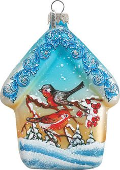 Red Robin Tree House Ornament; Hand-painted Old World Christmas Scene;  Vintage Holiday Ornament Free Personalized  (739422) by gdebrekhtgallery. Explore more products on http://gdebrekhtgallery.etsy.com